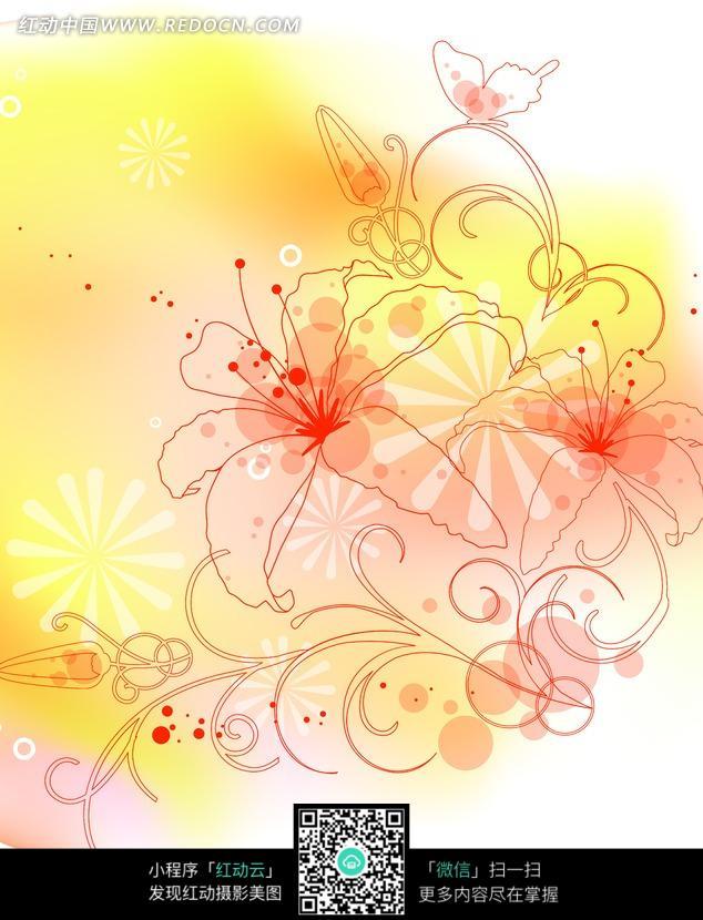 百合花朵/藤蔓/蝴蝶构成的绚丽图片