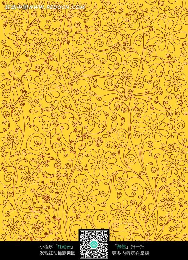 金色背景 褐色碎花 花朵图案 高清 创意图片 精美底纹 背景素材 图片
