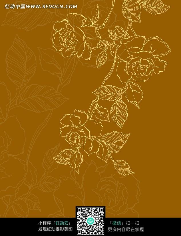 玫瑰花朵和带叶脉的叶子构成的图片