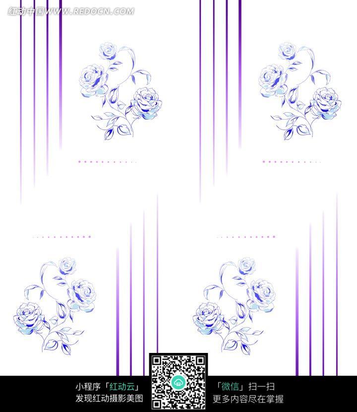 玫瑰花朵/叶子/竖纹构成的图片