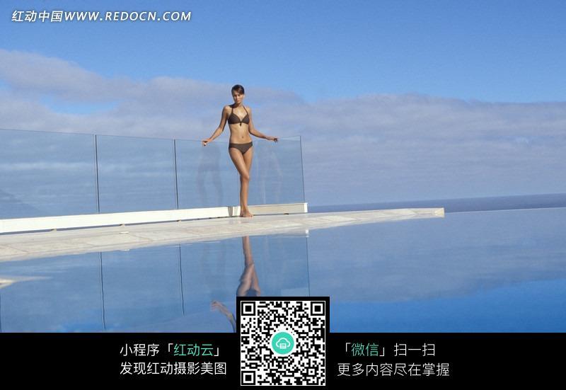 泳池边上的比基尼美女图片素材
