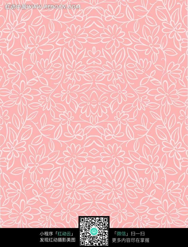 粉红色手绘线条花朵藤蔓底图图片
