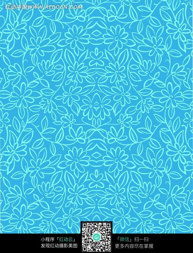 天蓝色手绘线条花朵藤蔓底图