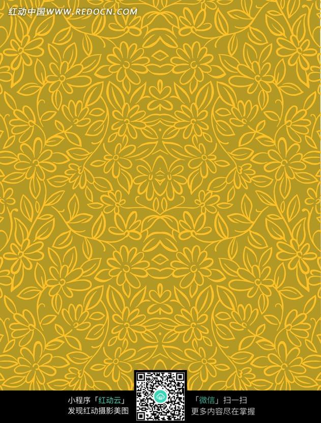 金黄色手绘线条花朵藤蔓底图