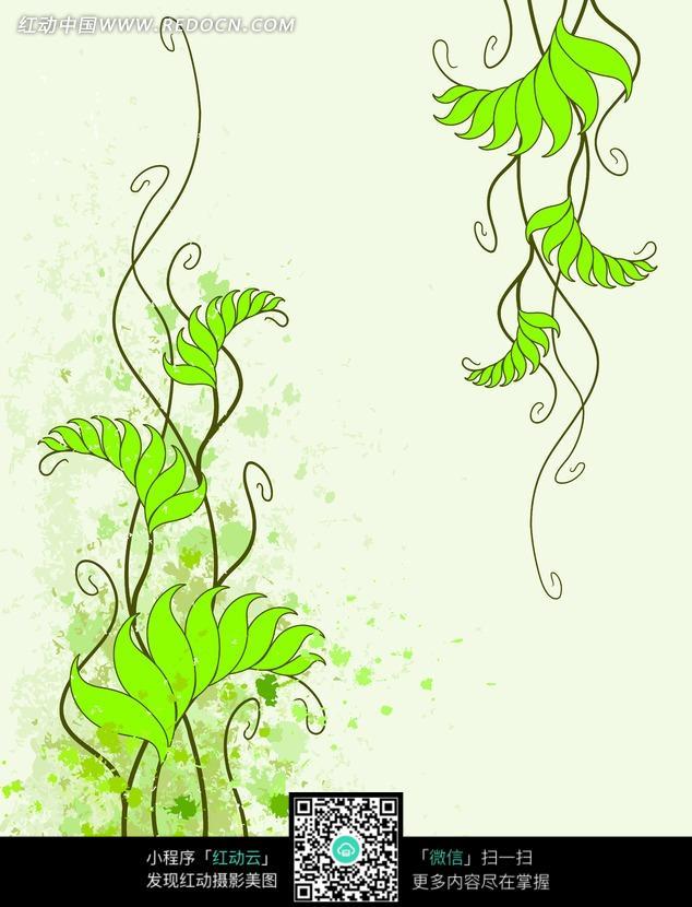 手绘线条绿色藤蔓叶子图案