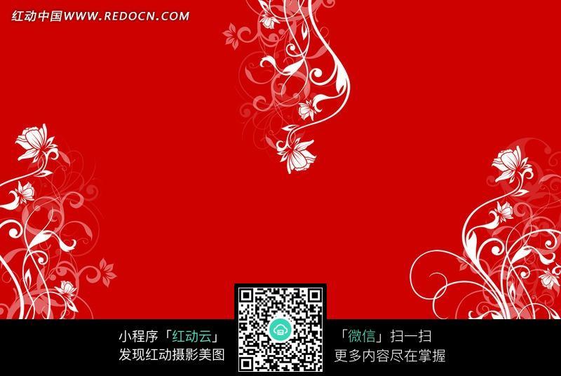 免费素材 图片素材 背景花边 底纹背景 手绘红底白线条潮流植物藤蔓
