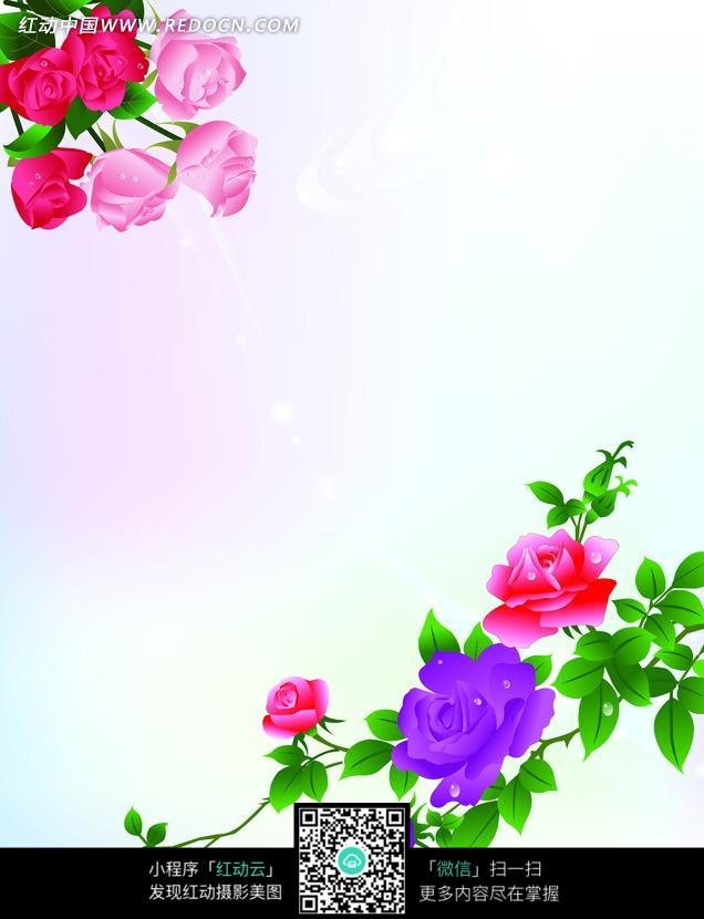 手绘各种颜色玫瑰及