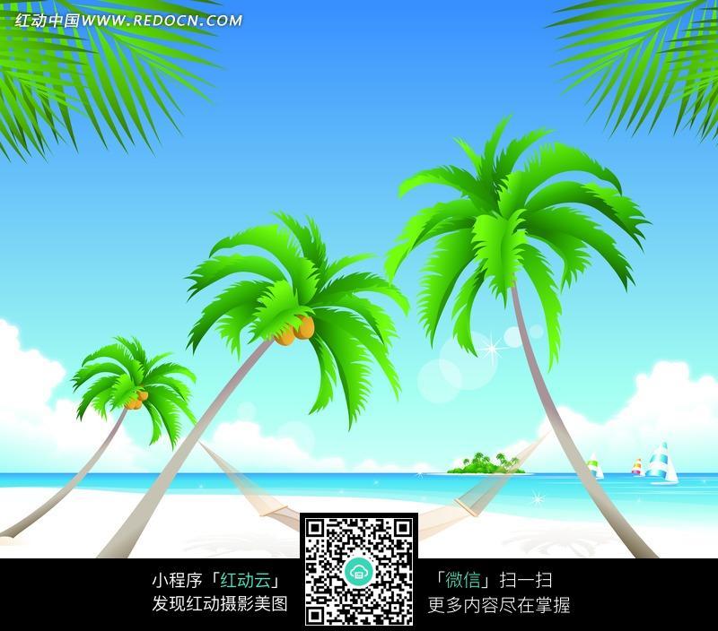 2棵椰子树中间的吊床图片
