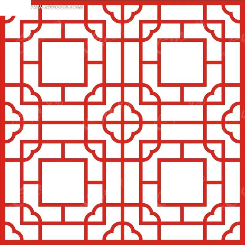 红色中式图案镂空花纹图片