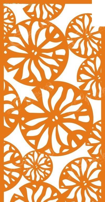 橙色圆形叶子图案镂空花纹