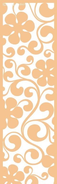 黄色欧式卷草六瓣花图案镂空花纹矢量图