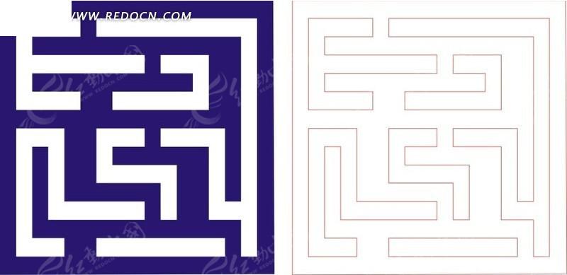 回形纹图案_宝蓝色中式回形纹图案镂空花纹CDR素材免费下载_红动网