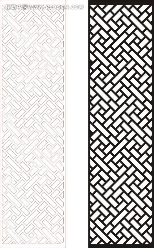 黑色中式四方连续图案窗格镂空花纹矢量图_传统工艺品
