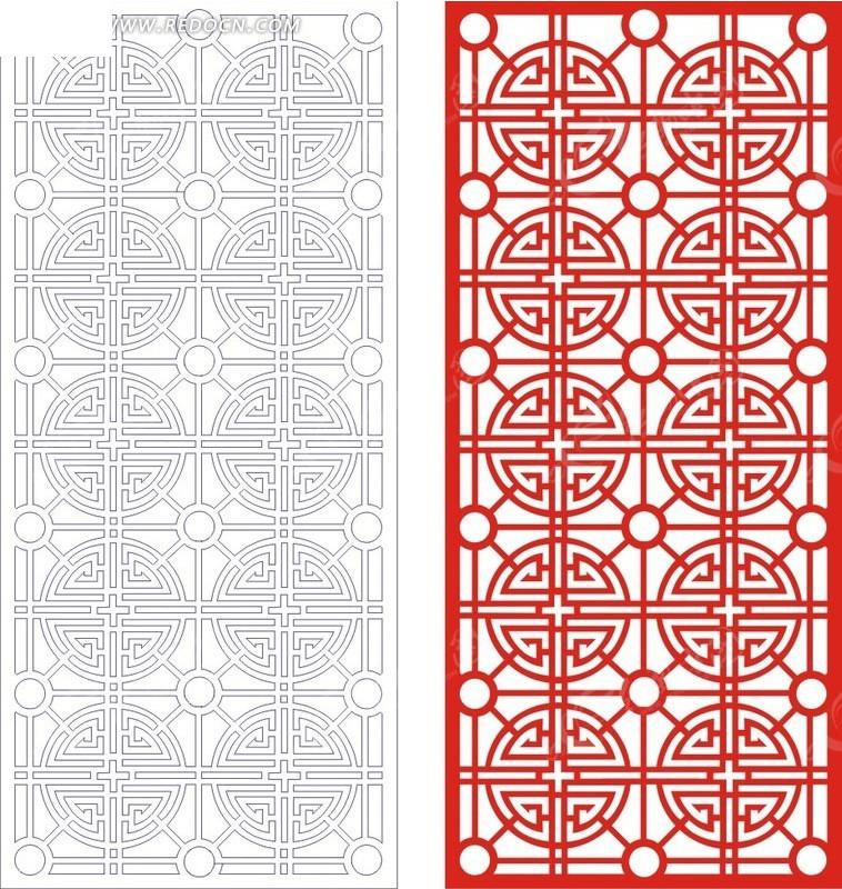 红色中式窗花图案花纹矢量图_传统工艺品