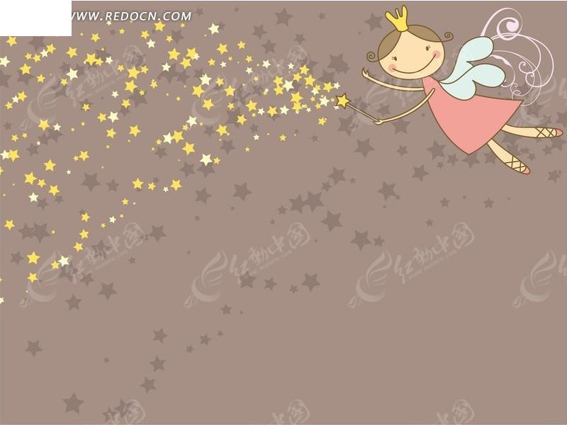 可爱的星星卡通小精灵女茶鼠色背景