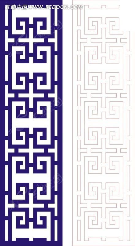 回形纹图案_宝蓝色中式回形纹图案窗格镂空花纹CDR素材免费下载_红动网