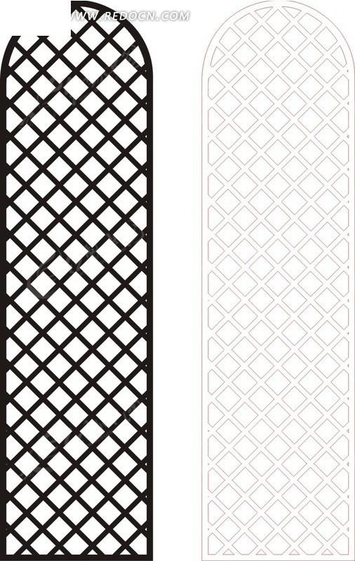 免费素材 矢量素材 艺术文化 传统工艺品 黑色中式网格图案窗格镂空花