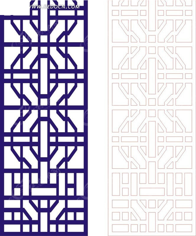宝蓝色 中式 传统图案 窗格 镂空花纹  镂空雕花 装饰花纹 时尚花纹
