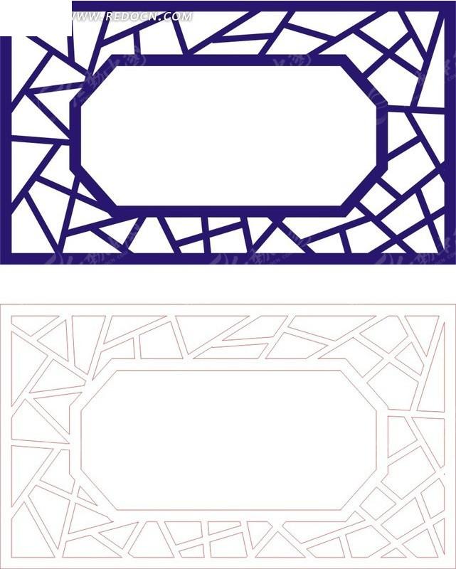 宝蓝色中式传统图案窗格镂空花纹图片