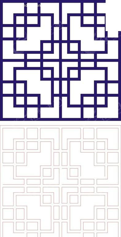 正方形宝蓝色中式回折纹图案窗格镂空花纹矢量图 传统工艺品