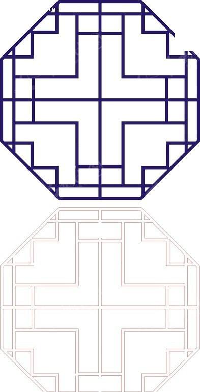回形纹图案_八边形宝蓝色中式回折纹图案窗格镂空花纹CDR素材免费下载_红动网