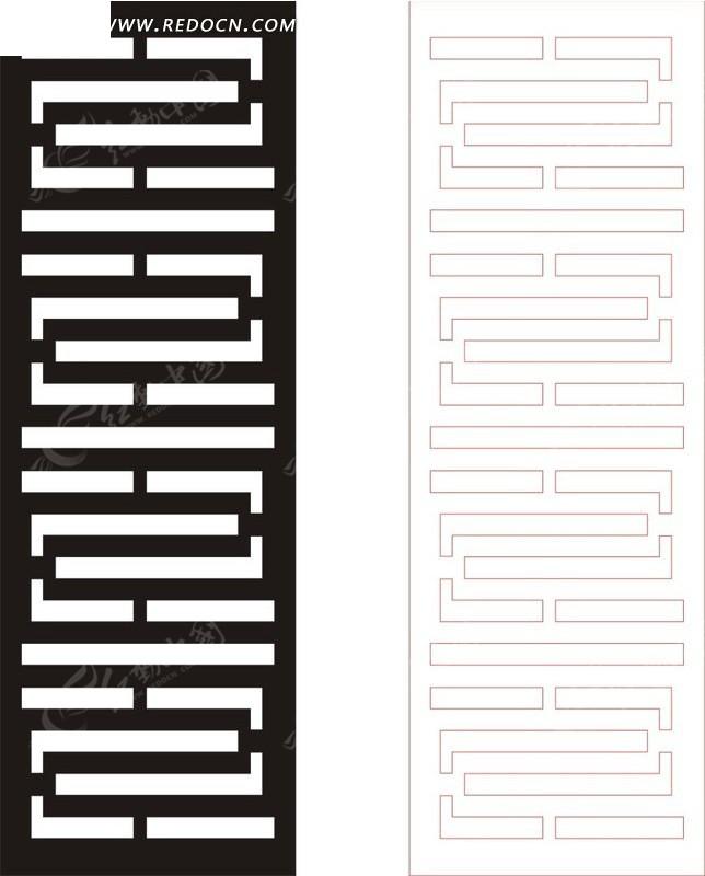 素材下载 矢量素材 艺术文化 传统工艺品 > 黑色中式横条图案窗格镂空