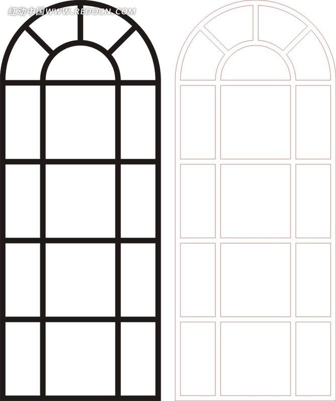 免费素材 矢量素材 艺术文化 传统工艺品 黑色中式方格图案窗格镂空