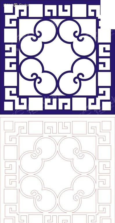 正方形宝蓝色中式传统图案窗格镂空花纹矢量图_传统