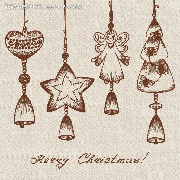 手绘卡通圣诞节日吊饰