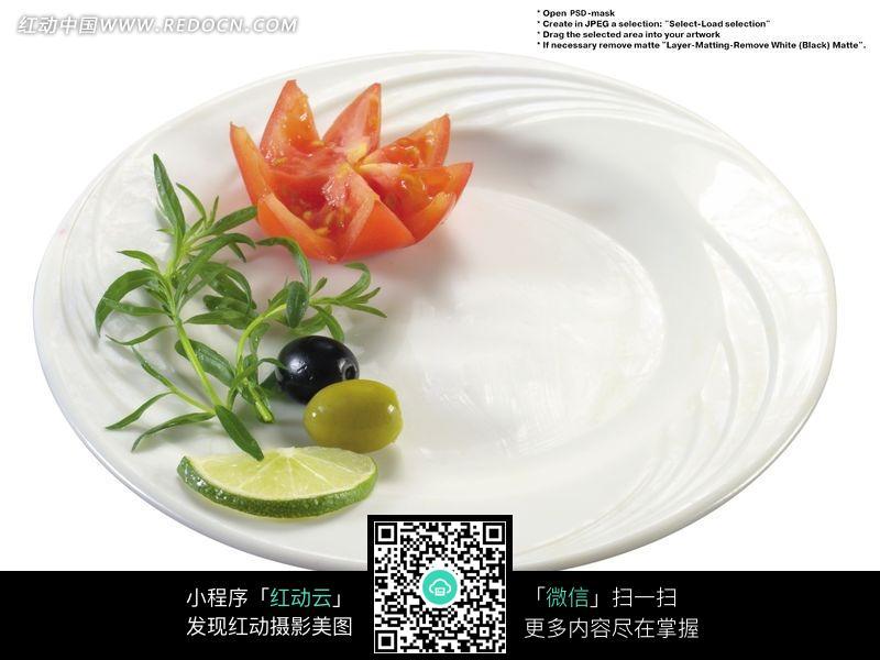 免费素材 图片素材 餐饮美食 水果蔬菜 白盘子上的装饰摆盘图片