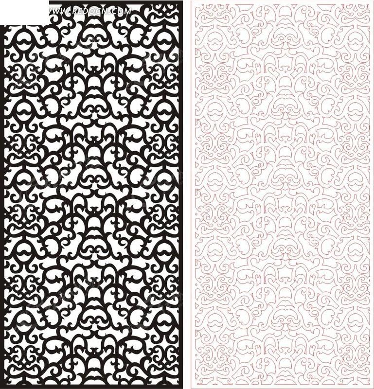 黑色欧式图案镂空花纹
