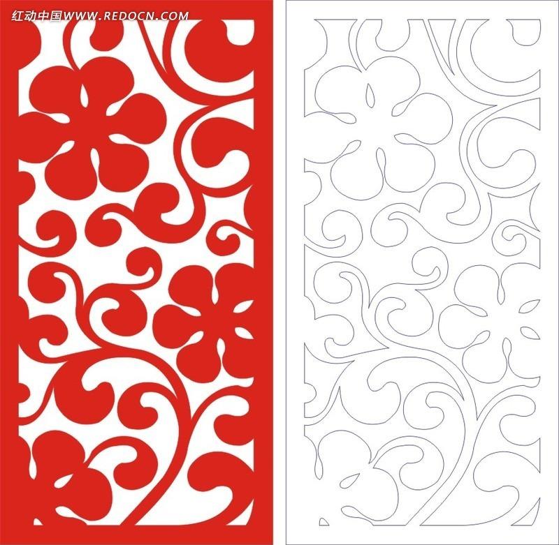 红色欧式图案镂空花纹cdr免费下载_传统工艺品素材