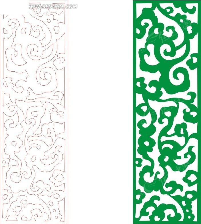 绿色 欧式 图案  镂空花纹 花纹隔断 窗格 装饰花纹 时尚花纹 矢量