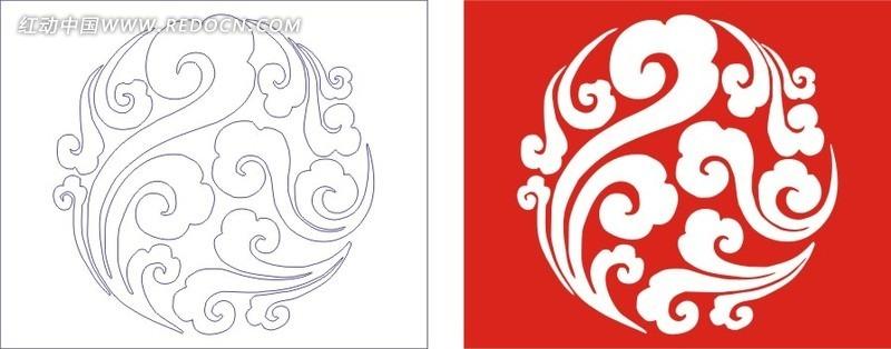 红色欧式图案镂空花纹