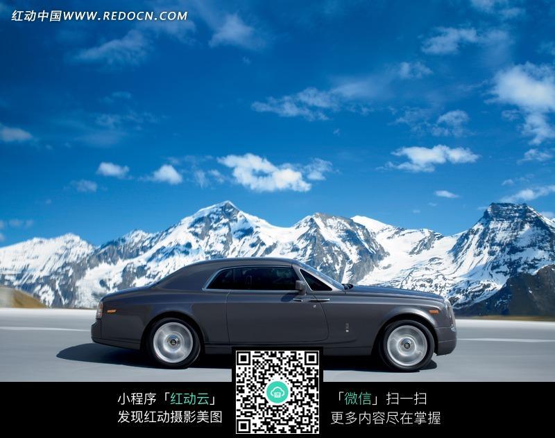 劳斯莱斯 汽车 冰雪 雪山 摄影图片 广告素材 交通工具 科技图片-雪山下高清图片