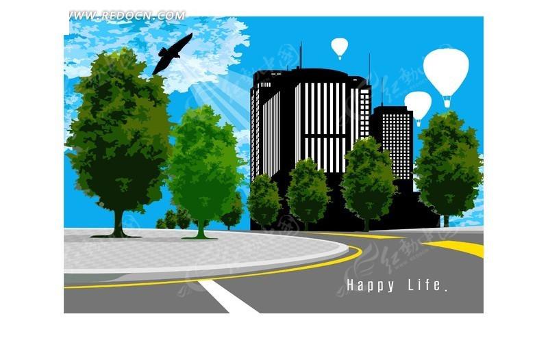 树 公路 蓝天白云 热气球 线框高楼 雄鹰剪影 城市风景一角 矢量素材