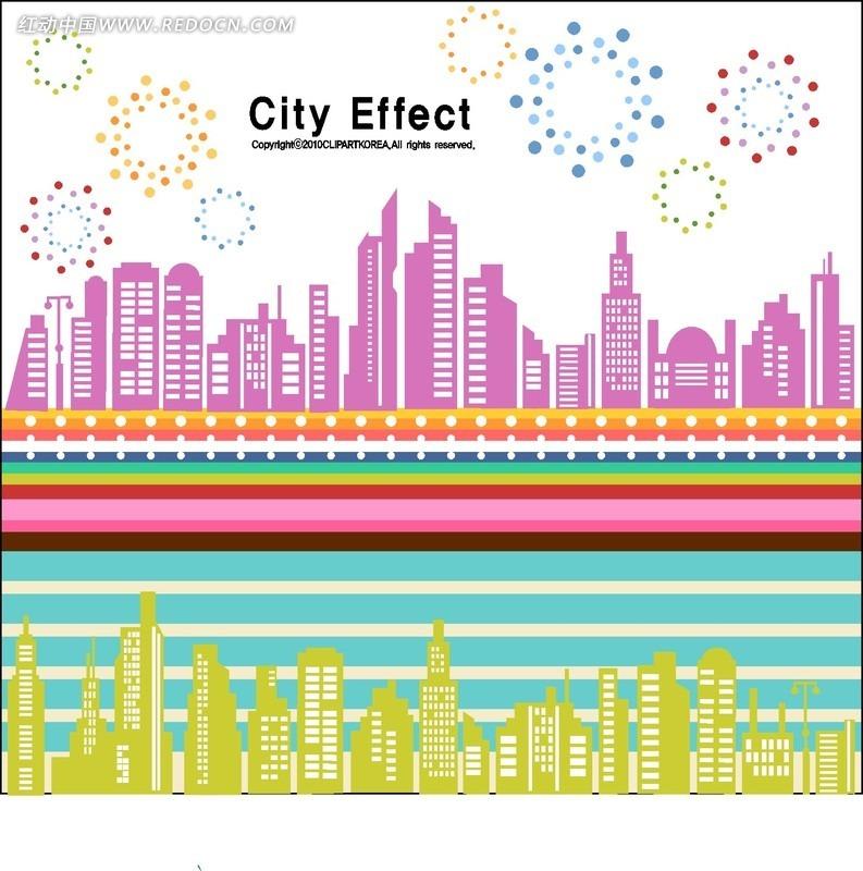 矢量素材 广告设计矢量模板 海报设计 抽象城市剪影礼花彩色线条  请