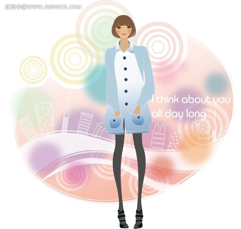 手绘建筑与圈点图案背景上双手插兜的时尚女孩