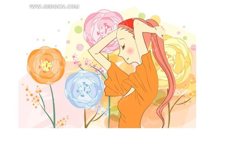 矢量素材 矢量人物 卡通形象 图案花圈点背景上橙色衣服的时尚女孩