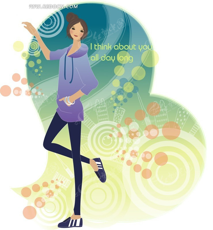 腿站立的时尚女孩 卡通