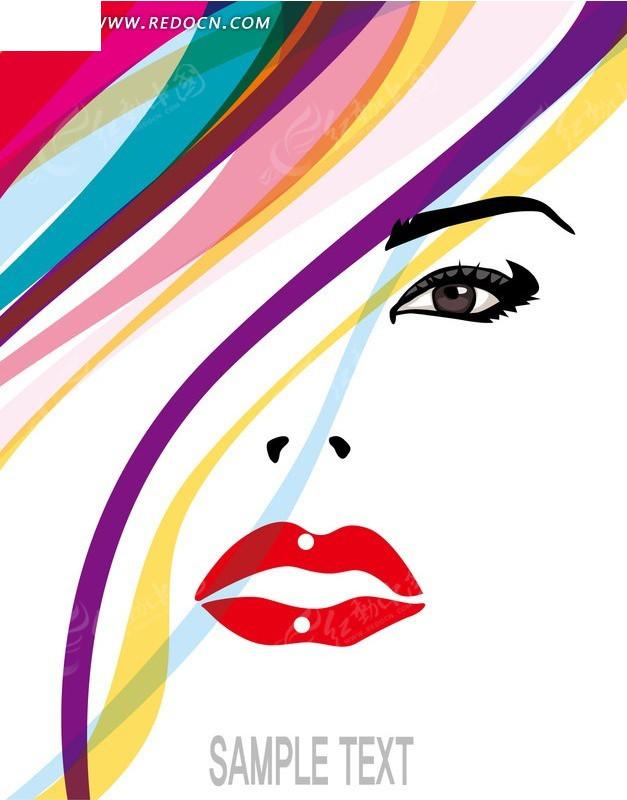 彩色头发靓丽红唇的时尚女孩矢量图