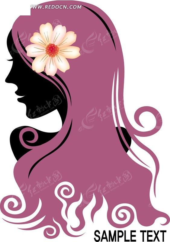 洋红色卷发上带花的时尚女孩图片