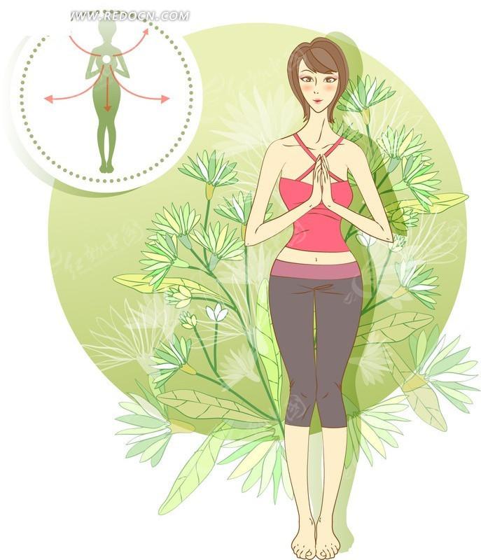做瑜伽動作的時尚女孩插畫素材圖片