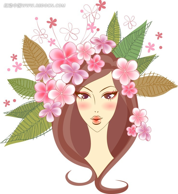 一个头戴花环的美少女矢量图ai免费下载