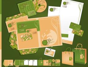 绿色花朵线条组合典雅VI设计应用模版