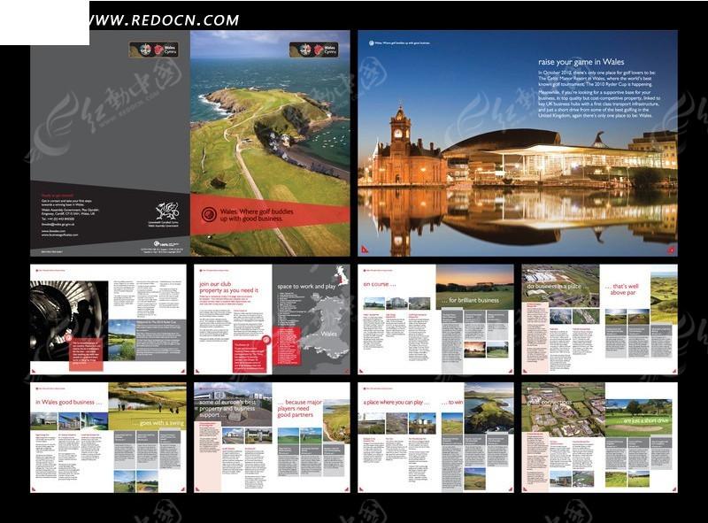 免费素材 矢量素材 广告设计矢量模板 画册设计 威尔士旅游宣传画册图片