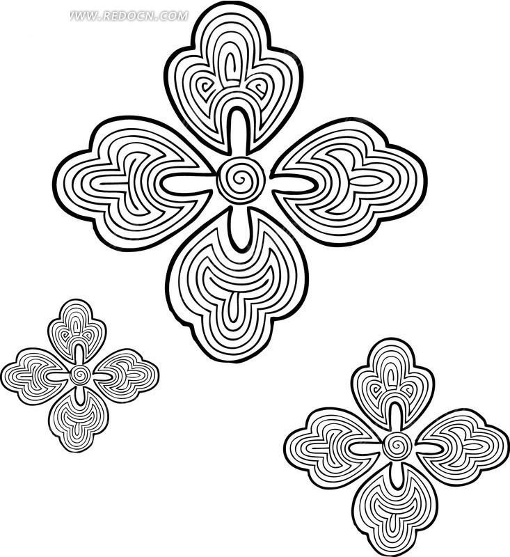 黑白图案花纹四瓣花AI素材免费下载 编号915753 红动网