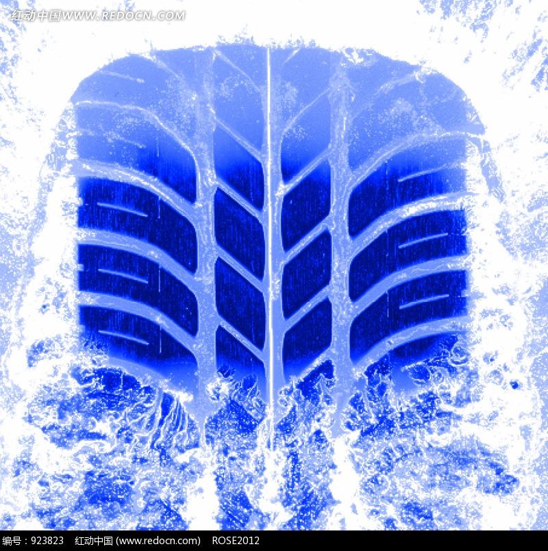 冰面上的蓝色轮胎 痕迹图片 现代科技图片 图片 高清图片