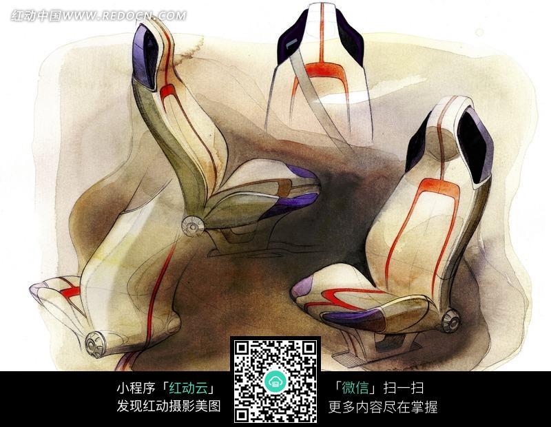 手绘flextreme飞灵概念车座椅效果图图片