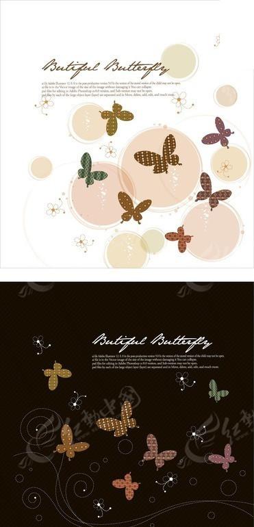 卡通蝴蝶花朵圆形动感线条
